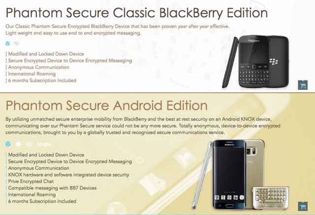 Quảng cáo của Phantom Secure cho loại điện thoại siêu mã hóa của mình.