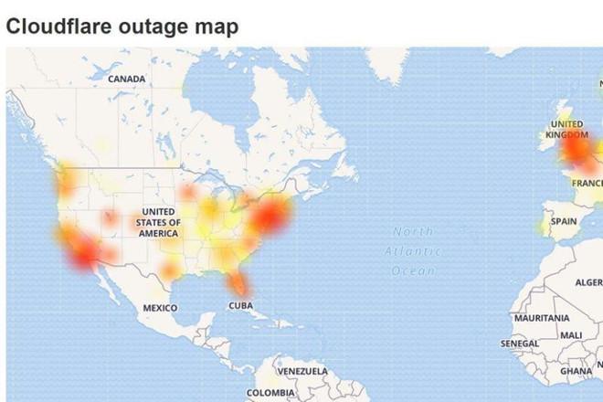 Bản đồ những khu vực bị thiệt hại nặng nhất trong sự cố của Cloudflare. Ảnh: DownDetector.
