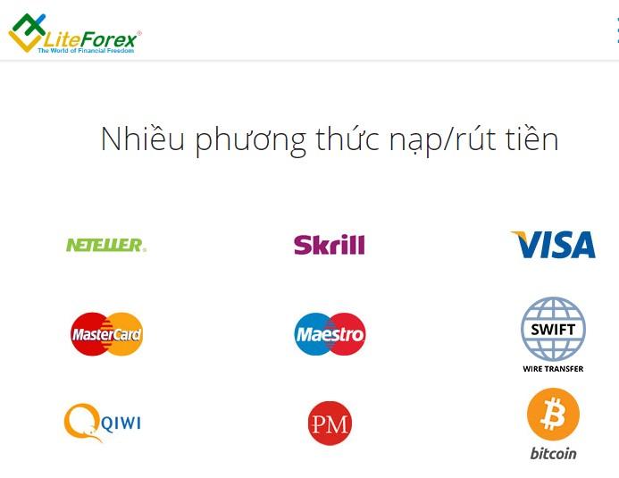 LiteForex đa dạng phương thức nạp rút tiền