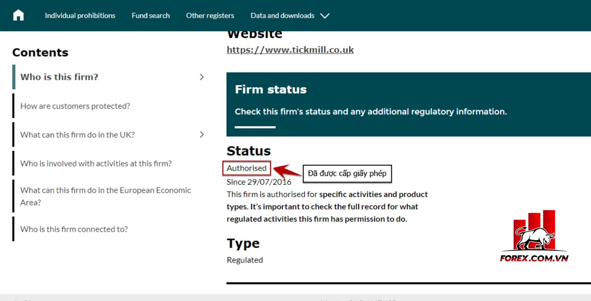 kết quả xác thực sàn có giấy phép FCA