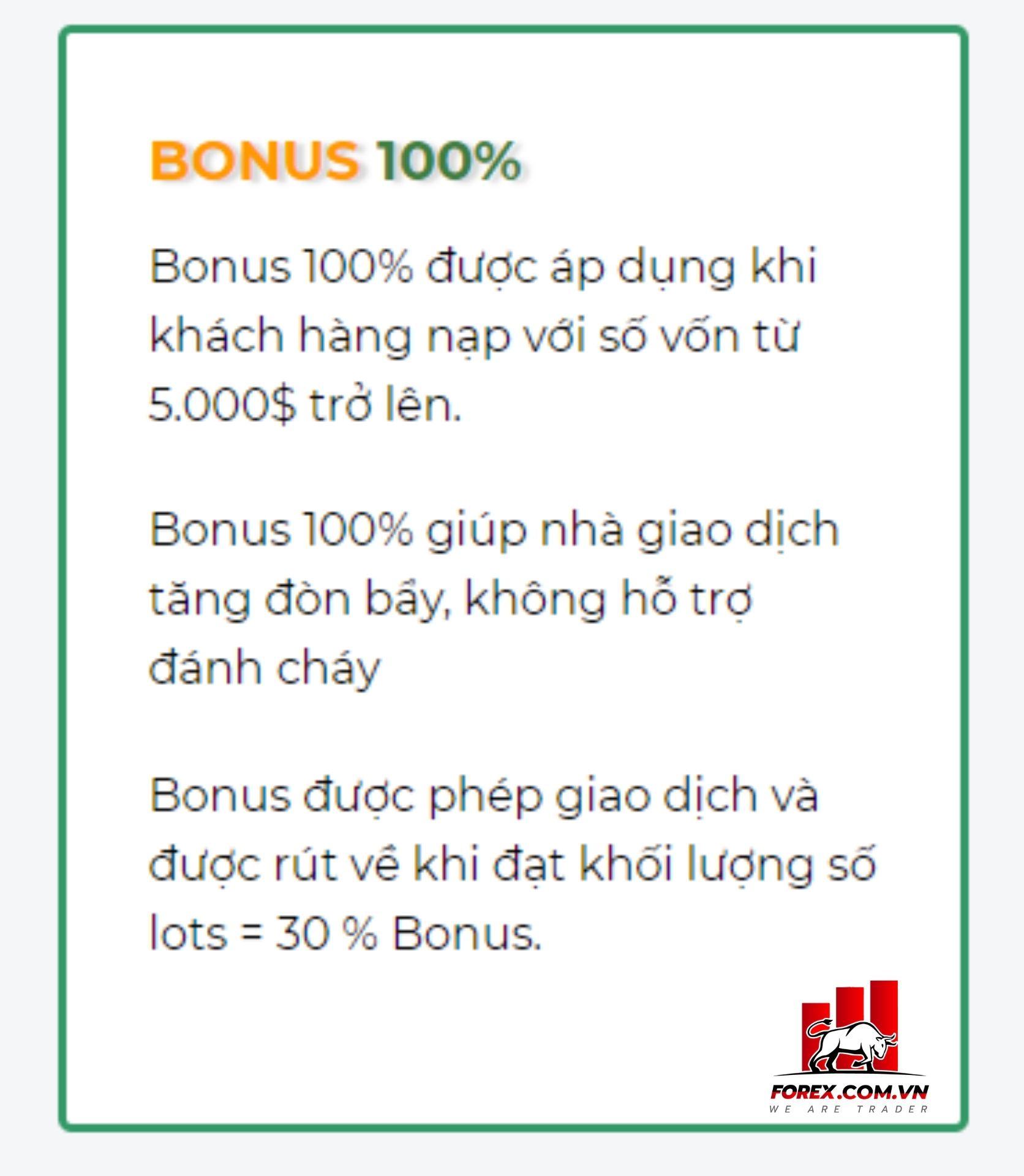 chương trình bonus 100% của sàn liteforex