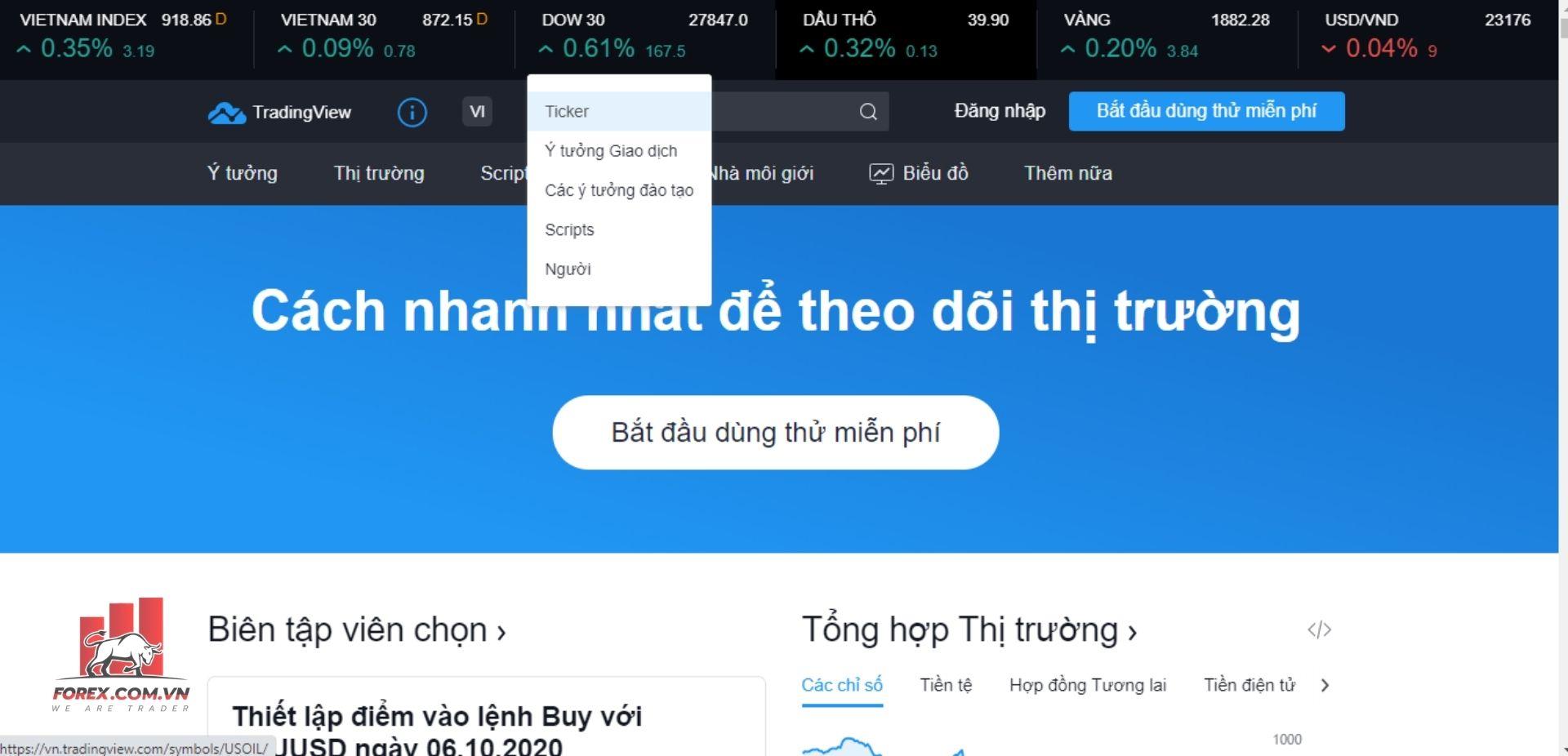 Giới thiệu tổng quan giao diện TradingView 1