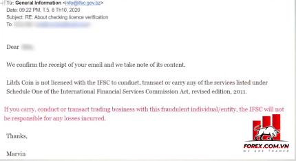 E-mail IFSC trả lời nhà đầu tư về giấy phép của Liber Forex