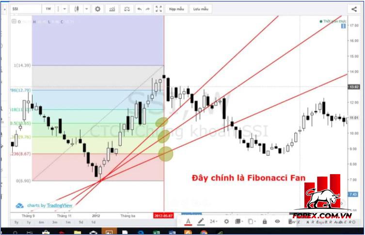 Cách vẽ Fibonacci Fan