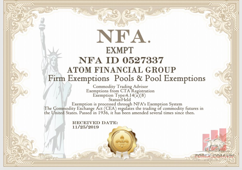 Giấy phép NFA sàn Forex ATOM Markets