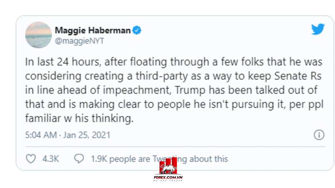 phóng viên Maggie Haberman của New York Times tweet rằng cựu tổng thống trump đang có ý định thành lập đảng thứ ba