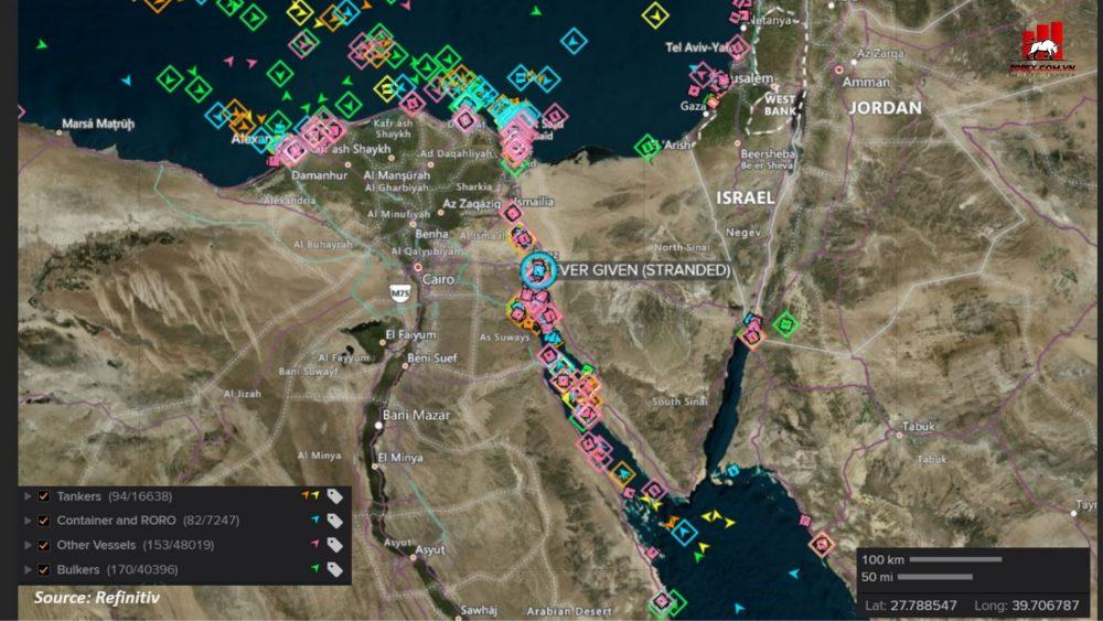 các con chở hàng bị ảnh hưởng từ tình trạng tắc nghẽn kênh đào suez